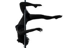 Woman pole dancer scorpion posture silhouette Stock Image