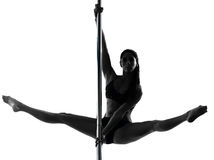 Woman pole dancer silhouette Stock Images