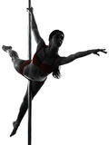 Woman pole dancer silhouette Royalty Free Stock Photography