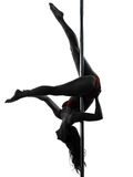 Woman pole dancer silhouette Stock Photo