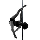 Woman pole dancer silhouette Royalty Free Stock Photos