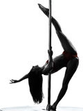 Woman pole dancer silhouette Stock Photo