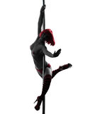 Woman pole dancer silhouette Stock Photos