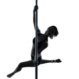 Woman pole dancer silhouette Stock Image