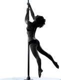 Woman pole dancer silhouette Royalty Free Stock Image