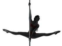 Woman pole dancer silhouette Stock Photos