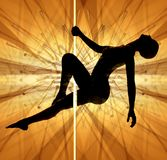 Woman pole dancing Stock Photography