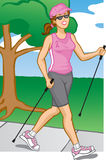 Woman Pole Walking stock images