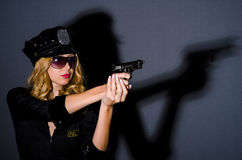 Woman police in  concept Stock Image