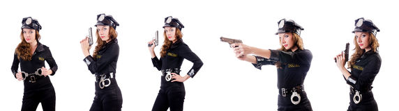 The woman police with handcuffs on white Stock Image