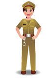 Woman_Police_Indian. An Indian Police woman in uniform standing with hands on hips Stock Photos