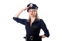 Woman police isolated. On white Royalty Free Stock Images