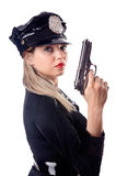 Woman police isolated. On white Stock Photography