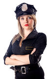 Woman police isolated. On white Royalty Free Stock Photo