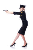 Woman police isolated. On the white Royalty Free Stock Image