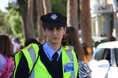 Woman police officer. Pafos, Cyprus - March 16, 2013: Woman police officer. Carnival in Cyprus royalty free stock photo