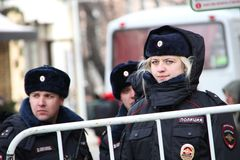 Woman police officer from Russia in winter uniform. Moscow, Russia. March in support of political prisoners. Woman police officer from Russia in winter uniform Royalty Free Stock Photo