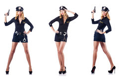 The woman police officer  on white Stock Photos