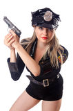 Woman police on white Royalty Free Stock Image
