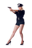 Woman police on white Stock Image