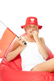 Woman with polish flag waiting euro match Royalty Free Stock Image