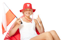 Woman with polish flag waiting euro match Royalty Free Stock Photo