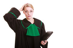 Woman polish lawyer file folder surprised  holding her head in amazement Stock Photos