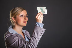 Woman with polish zloty Stock Image