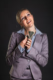 Woman with polish zloty Stock Photos
