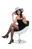 Woman in a polka dot hat Royalty Free Stock Photo