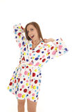 Woman polka dot robe yawn Stock Image
