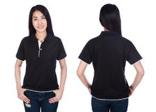 Woman in polo shirt isolated on a white background Royalty Free Stock Photography