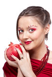 Woman with pomegranate Stock Image