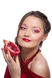 Woman with pomegranate Stock Photo