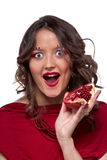 Woman with pomegranate Royalty Free Stock Photo