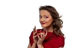 Woman with pomegranate Royalty Free Stock Photos