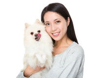 Woman with pomeranian dog Stock Photography