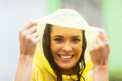 Woman in poncho Stock Photos