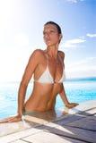 Woman at pool royalty free stock photo