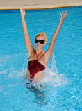 Woman in a pool Royalty Free Stock Image