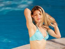 Woman at Pool Stock Photos