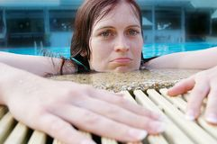 Woman pool Royalty Free Stock Image