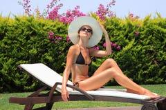 Woman at a pool Stock Photos