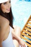 Woman at a pool Stock Photo