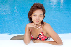 Woman in the pool Royalty Free Stock Photos