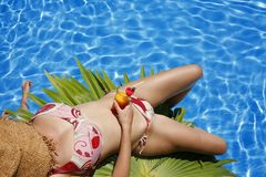 Woman by Pool Royalty Free Stock Image