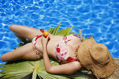 Woman by Pool Stock Image