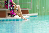 Woman in the pool Royalty Free Stock Images