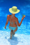 Woman by the pool Royalty Free Stock Photos