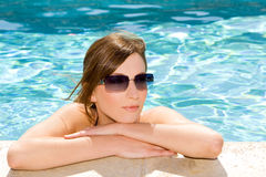 Woman in pool Stock Photo